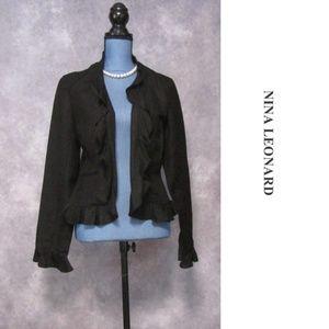 Lennie for Nina Leonard Black Linen Blend Blazer
